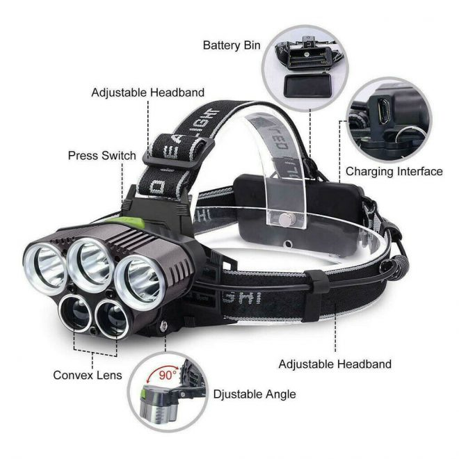 Lampe frontale 5 LED CREE